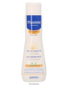 Dry Skin Cleansing Milk Face and Diaper 200 ml fra Mustela
